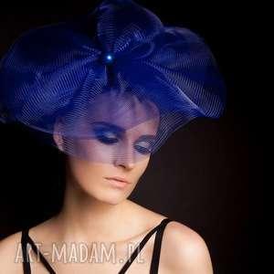 handmade ozdoby do włosów kobaltowy fascynator