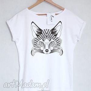LIS koszulka bawełniana biała L/XL, koszulka, t-shirt, blyzka, nadruk, lis,