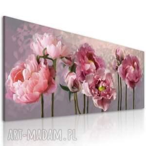 obraz do salonu drukowany na płótnie z kwiatami, różowe kwiaty piwoni 150x60cm
