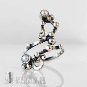 sorbus i z perłą srebrny pierscionek perłami, pierścionek, regulowany