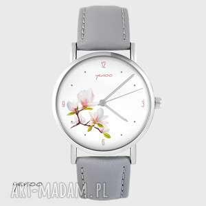 Zegarek - magnolia skórzany, szary zegarki yenoo zegarek