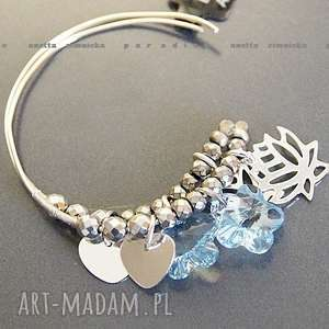 ręczne wykonanie kolczyki srebro, kolczyki swarovski blue w srebrze