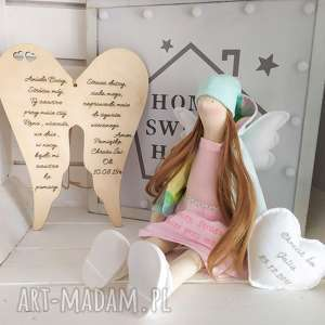 anioł tilda lalka pamiątka chrztu świętego komunii, anioł, tilda