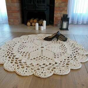 dywan dace 110 cm kremowy, szydełkowy, ze sznurka, okrągły