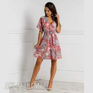 sukienka zibia mini medea, mini, rozkloszowana, na lato, z falbanami, kopertowy