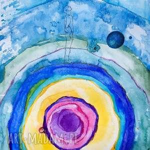 człowiek ametyst akwarela artystki adriany laube - metafizyczny obraz, energia