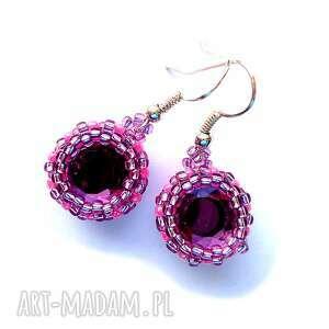 molicka kolczyki beading w kryszałkami we fiolecie i różu, beading, toho, kryształki