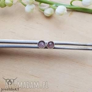 kropki truskawkowe 4mm - kolczyki, srebrne kolczyki wkrętki, okrągłe