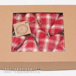 zawieszki na choinkę bombki serduszka rustykalne w pudełku prezent, zawieszka