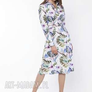 sukienka elegancka z kołnierzykiem, suk165 kwiaty, sukienka, midi, liście