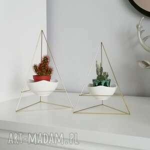 zestaw geometrycznych doniczek w stylu himmeli - 2x piramida, doniczka