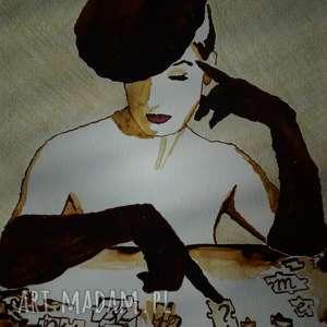 obrazy puzzle me - obraz kawą malowany, retro, dama, rękawiczki, puzzle, kawa