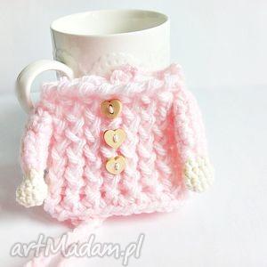 Otulacz na kubek - pudrowy sweterek - ,otulacz,kubek,ocieplacz,swerterek,