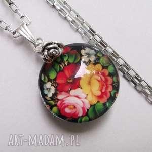 rose garden-naszyjnik - stal, naszyjnik, kwiaty, róże, wisior, szkło
