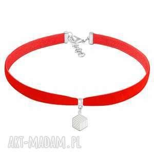 choker - red velvet lavoga - czerwone naszyjniki, kostka