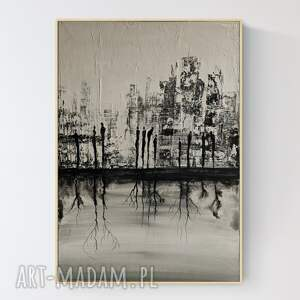 art krystyna siwek abstrakcja z wyraźną strukturą, obraz miasto w stylu