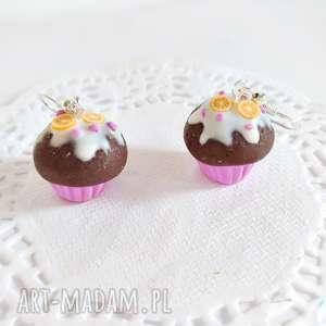 Kolczyki babeczki czekoladowe z lukrem - ,babeczki,kolczyki,muffinki,biżuteria,ciasteczka,