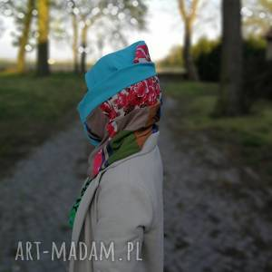 Komplet wiosenny patchworkowy etno boho kominy ruda klara czapka