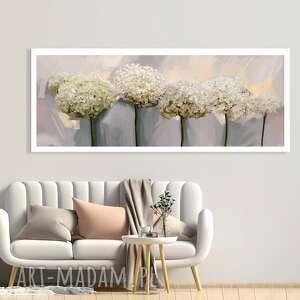 obraz drukowany na płótnie - kwiaty hortensji w delikatnych barwach 150x60cm