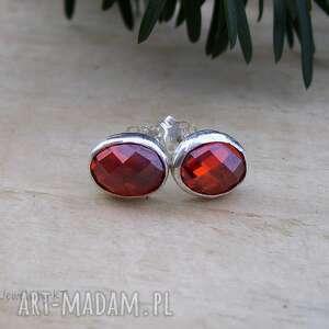 Ogniste drobinki - kolczyki jewelsbykt srebrne kolczyki, sztyfty