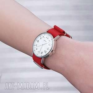 zegarek - kanji czerwony, nato, zegarek, bransoletka, kanji, japoński