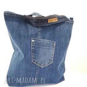 handmade na ramię jeansowa torba z kieszonkami zapinana na zamek