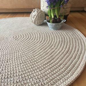 Okrągły dywan ze sznurka bawełnianego - 140 cm, dywan, zesznurka, sznurka, stylowy
