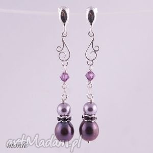 lady li fioletowe kolczyki - perły, srebro