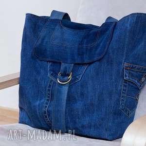 wielka torba z jeansu, torba, torebka, worek, dżins, jeans, denim na ramię