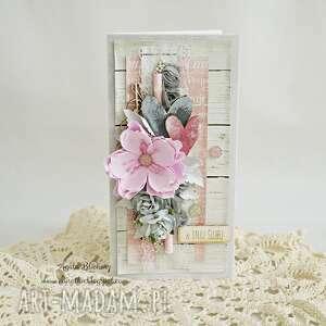 kartka ślubna - szary róż - kartka-ślubna, młodej-parze, kwiaty