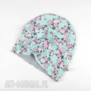 miętowa czapka w różyczki ciepła dwustronna, dziecko, czapka, dwustronna