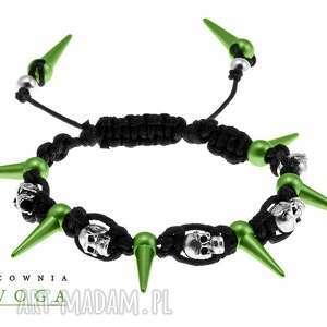 ręcznie robione bransoletki skulls in green - unisex