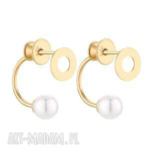 złote kolczyki z karmami i perłami swarovski crystal, karma, koło, perła, zaucho