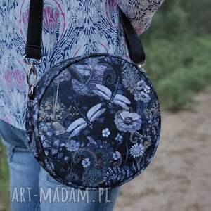 round bag - ważki nocą, elegancka, nowoczesna, ważki, wiosna, prezent, święta