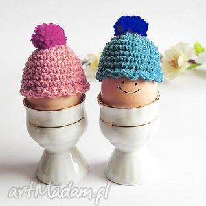 2 czapeczki na jajka, czapeczki, ocieplacz, pisanki, wielkanoc