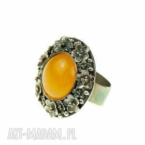 corine okwiecony srebrny pierścień z żółtym agatem, pierścionek, żółty kamień