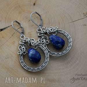 kolczyki z lapis lazuli, stal chirurgiczna, wire wrapping, kolczyki, lazuli