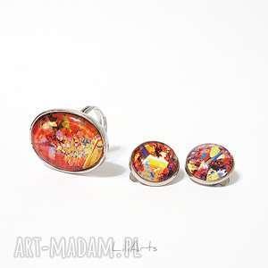 komplet - klipsy i pierścionek czerwony, kolorowy, klipsy, pierścionek, grafika