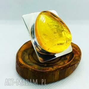 mychoice nowoczesny srebrny pierścionek z bursztynem srebro 925