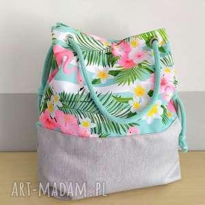 na ramię torba worek flamingi miętowym, torba, torebka, worek