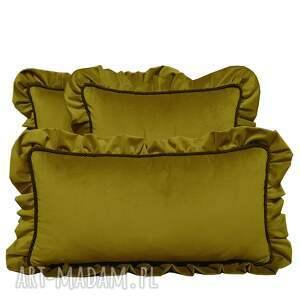 ręcznie zrobione poduszki dekoracyjne komplet 3 welur musztarda od majunto