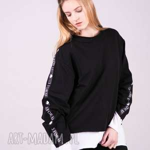 hand-made bluzki bluzka sportowa z lampasem monica-czarna