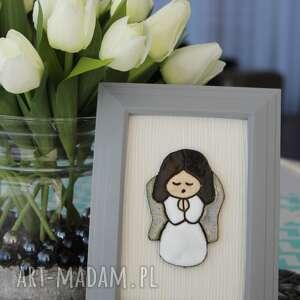 aniołek stróż - anioł ceramiczny w ramce, skandynawski, minimalizm, design