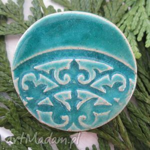 turkusowa broszka, turkus, ceramiczna
