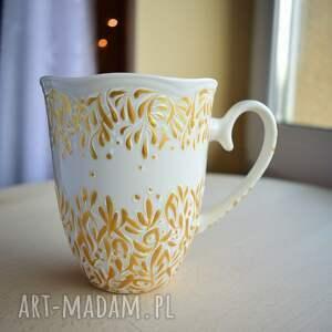 kubki kubek ręcznie malowany złoty elegancki prezent, dla mamy, kobiety