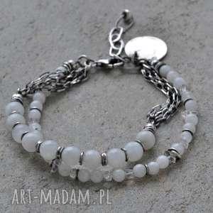 Bransoletka srebrna z kamieniem księżycowym i diamentem Herkimer, srebro, kamień
