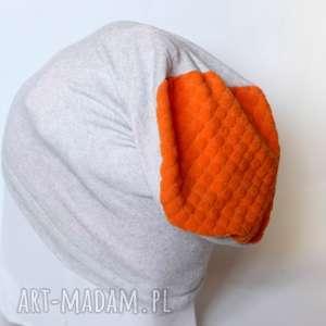 czapki czapka dzianinowa szaro pomarańczowa, czapka, sport, dzianina, etno, damska