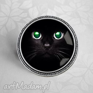 broszka z kotem - kot, kocur, pupil, zwierzak, czarny, awangardowa