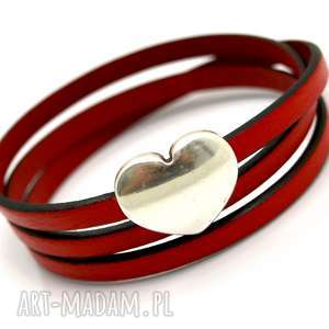 bransoletka skórzana magnetoos triple big heart red, bransoletka, skórzana, skóra
