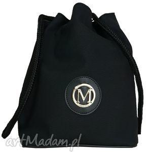 hand-made torebki manzana plecak-worek luźny styl czarna matowa